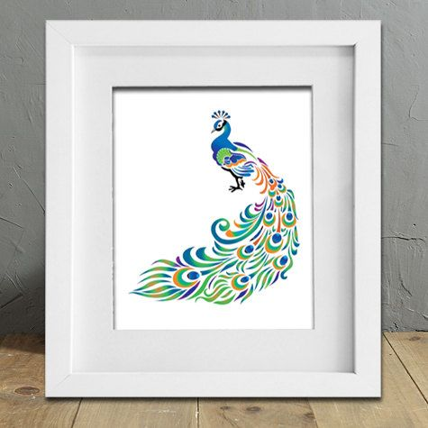 Peacock art - Modern Art - Bird art print - Blue and green - Peacock feathers - $12, via Etsy- does not include frame- only the print.