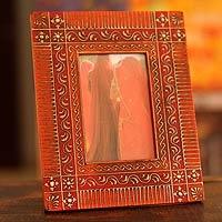 Madhubani photo frame - Flowers of India (5x7) - NOVICA