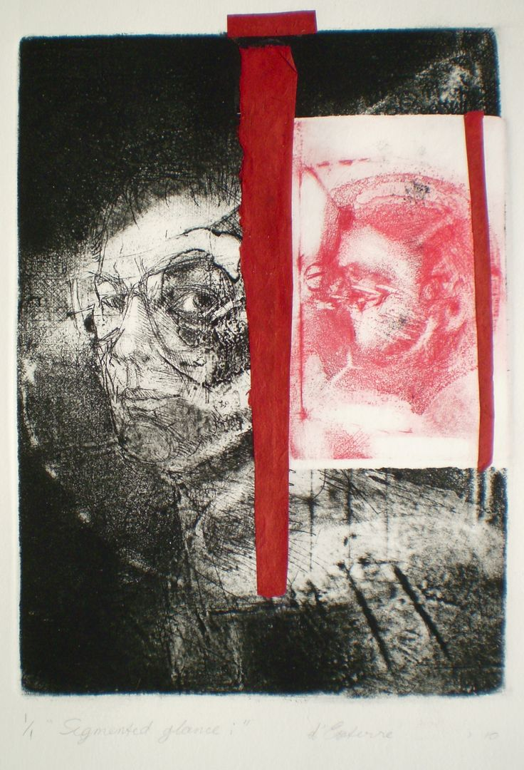 ELAINE d'ESTERRE - Segmented Glance 1, 1/1, 2010, intaglio, drypoint and chine-colle 26x18 cm print, 50x35 cm paper by Elaine d'Esterre at http://elainedesterreart.com and http://www.facebook.com/elainedesterreart/ and http://instagram.com/desterreart/