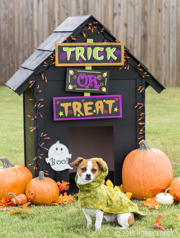 this tricked out dog house and homemade costume is sure to put a smile on fall halloweenhappy halloweendog craftshomemade costumesdiy decorationdog - Halloween Decoration Crafts
