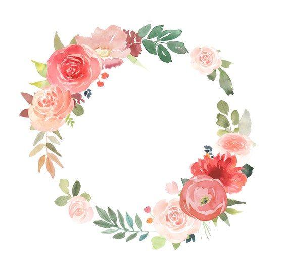 Watercolour Floral Wreath Clipart Orange Flower Clip Art Wreaths