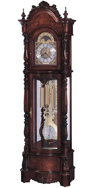 Howard Miller Veronica 611-015 Victorian Grandfather Clock This Victorian furniture styled floor clock with a satin Windsor Cherry finish offers elegant details. An ornate pediment features bookmatched...