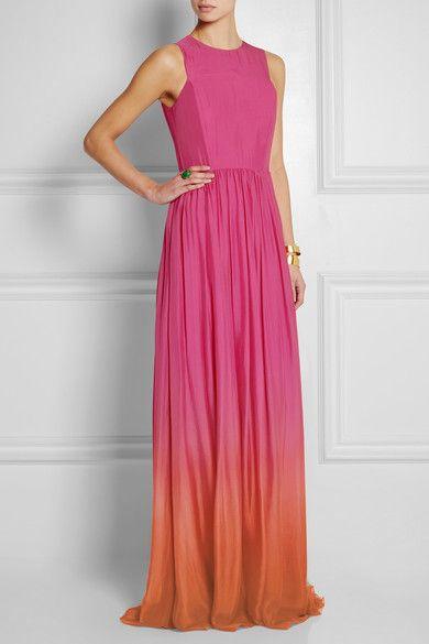 Matthew Williamson's Dégradé silk-voile gown is like a sherbet-colored dream.