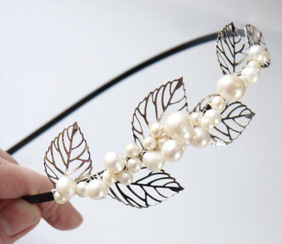 pearl leaves side tiara ivory freshwater pearl by PearlsByTabs, $65.00