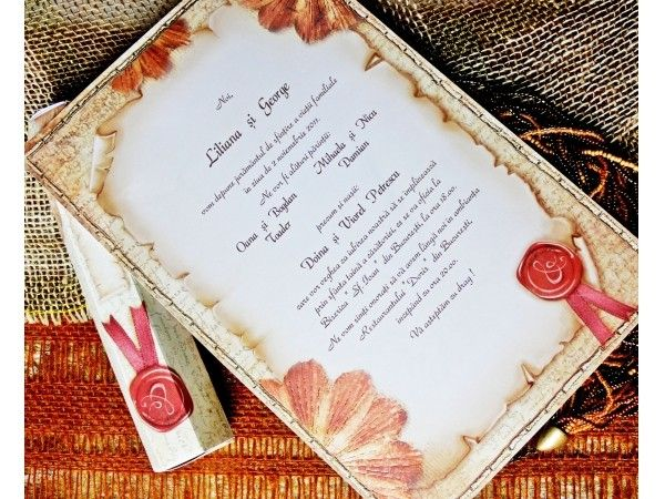 Invitatie.org va asteapta cu Invitatii de Nunta Papirus Vintage elegante!