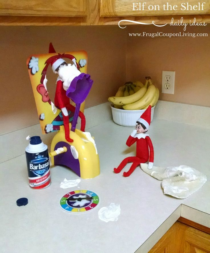 Pie Face fun with these two mischievous elves. Dozens of Easy and Creative The Elf on the Shelf Ideas found on Frugal Coupon Living.