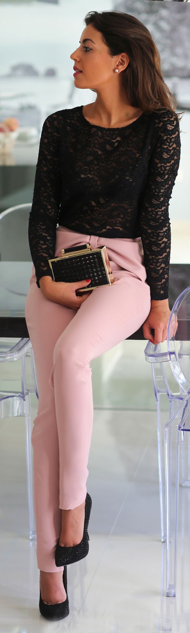 Dusty Pink Front Bowknot Skinny Pants