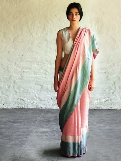 Peach Mint Green Jeenat Cotton Silk #Saree By Raw Mango. Available Online At Jaypore.com.