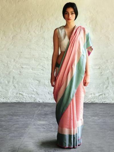 Peach Mint Green Jeenat Cotton Silk #Saree By Raw Mango. Available Online At Jaypore.com.