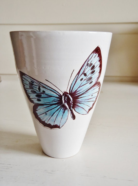 Hand thrown ceramic cup/mug with blue butterfly by kelverum, $32.00