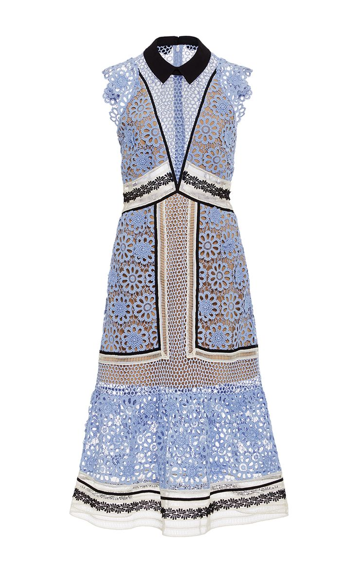 Floral Lace Midi Dress by SELF PORTRAIT Now Available on Moda Operandi