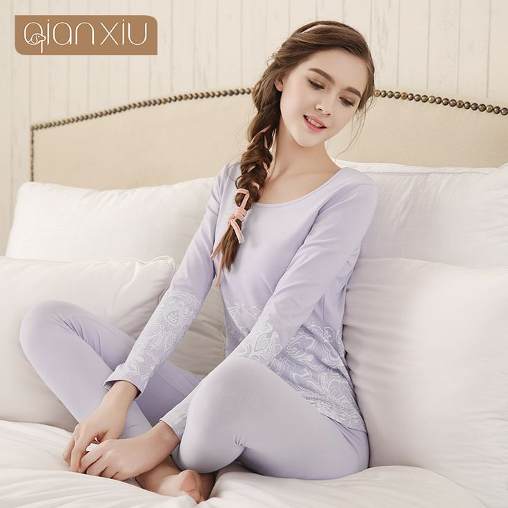 Qianxiu Intimates For Women 95%Cotton Long Johns Fashion Floral Thermal Underwear Suit