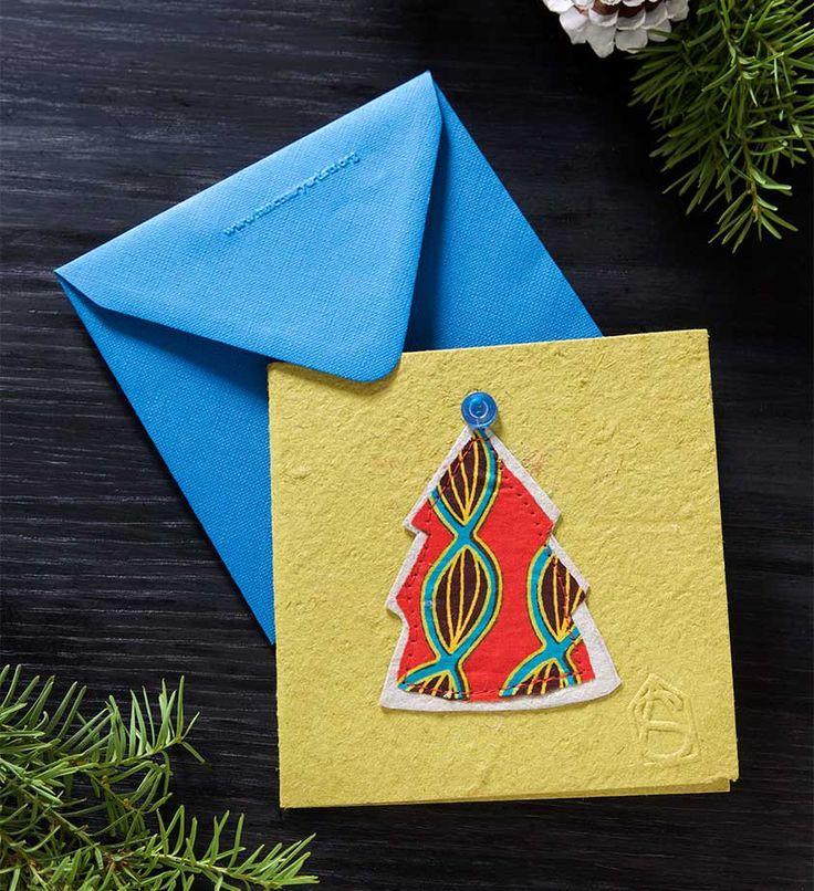 Set of Four Handmade Paper Holiday Cards Christmas