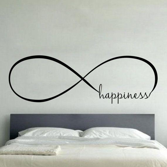 Infini bonheur - mur vinyle autocollant Sticker famille enfants chambre murale motivation citation belle pour toujours espoir de cœur aime toujours vie Fun