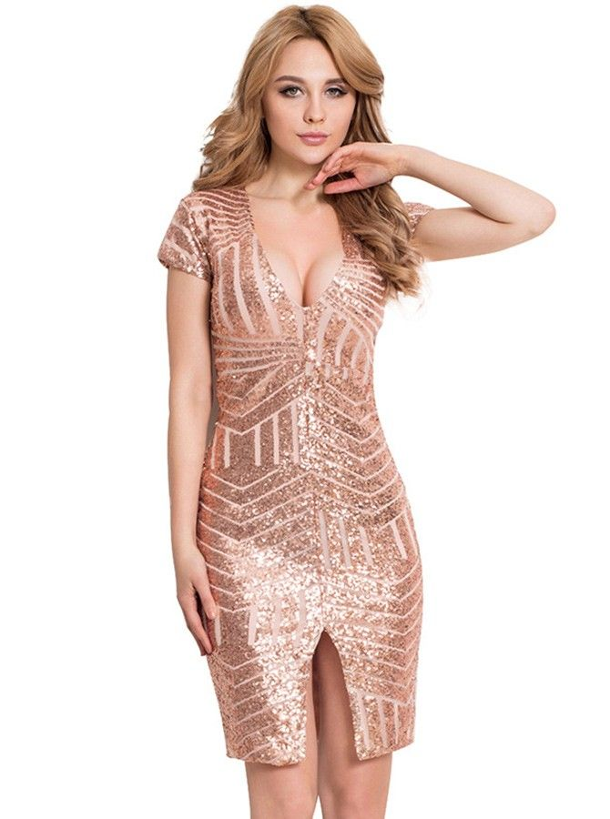 V-Neck Short Sleeves Rose Gold Sequin Club Dress with cheap wholesale  price 79f163b99896