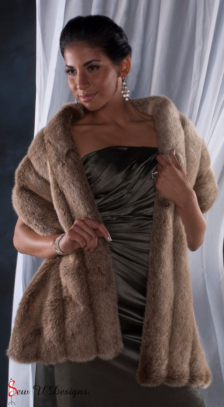 "Brown faux fur Winter wedding Stole shawl wrap 72"" length FOUR grooved rows wide. $72.00, via Etsy."