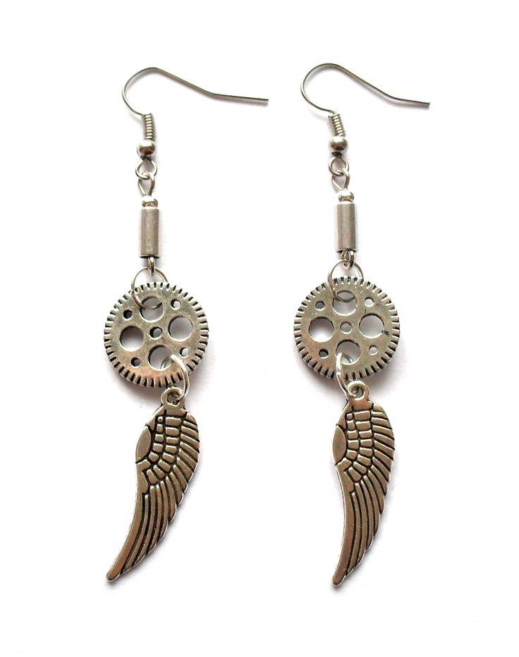 Steampunk earrings with wings.