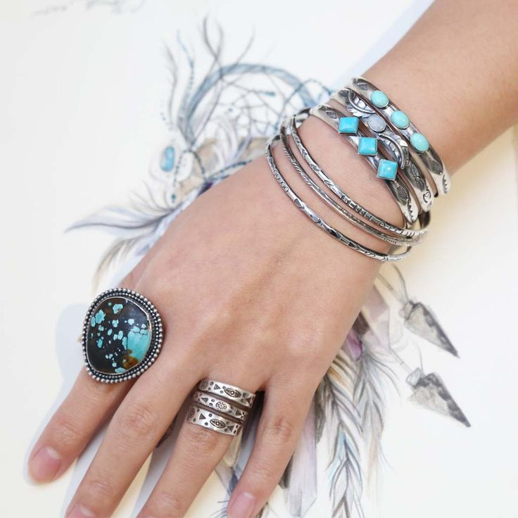 Beautiful stackable silver bangles, turquoise cuffs and natural Australian Opal cuff. These will make every gypsy lover a great day. Not to mention that big stunning two tones Natural Turquoise ring. We have what you want and need. Come and find out more at www.atthursday.com.au