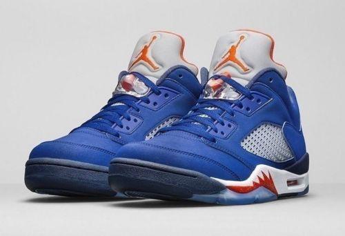 check out 742d5 2f73d ... store new air jordan 5 v retro low knicks deep royal blue orange 819171  417 sz