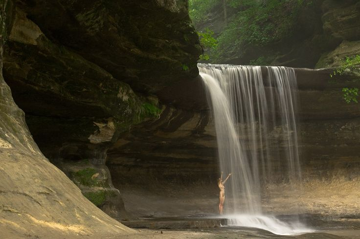 Enjoying the waterfall!