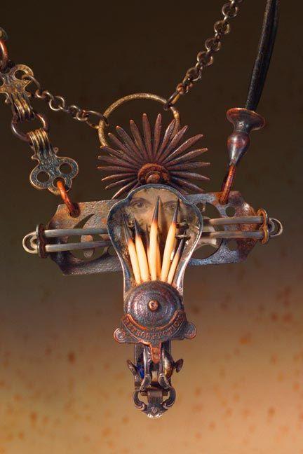 Keith Lo Bue salvaged art, salvaged jewelry, steampunk: Keith Loblu, Lockets Pendants, Lo Bue, Bue Salvaged, Inspiration, More Keith Lobu, Salvaged Jewelry, Retrospect Pendants