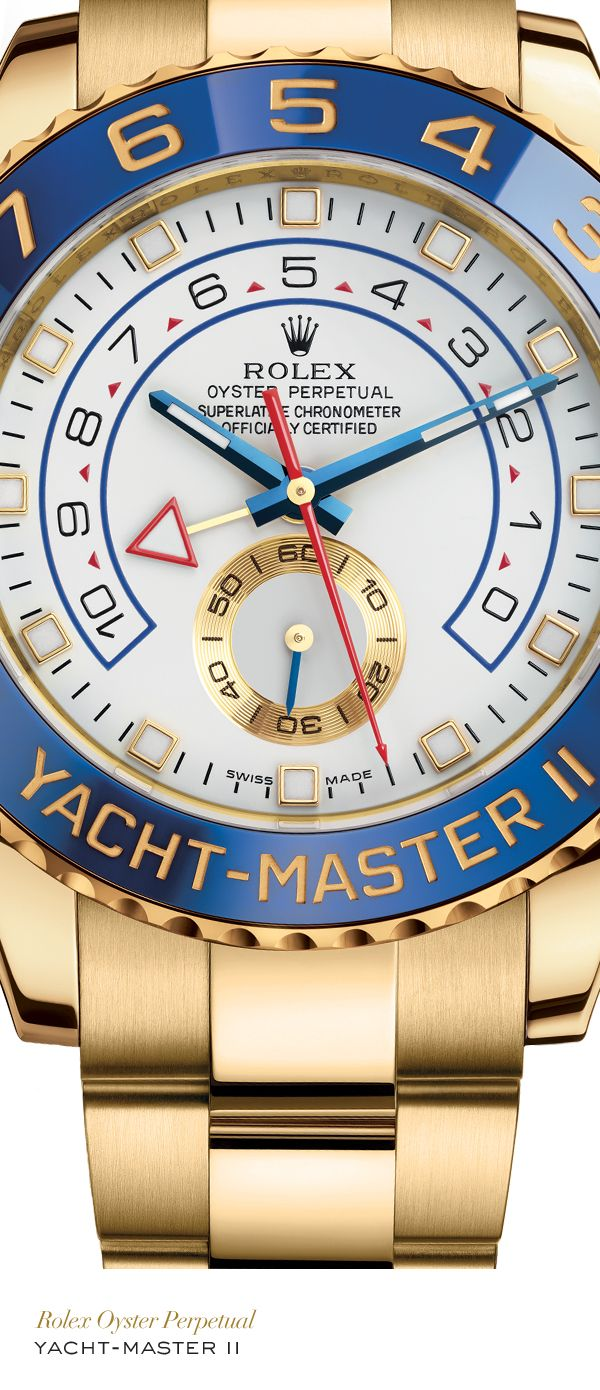 Rolex Yacht-Master II 44 mm in 18 ct yellow gold with a blue ceramic bezel, white dial and Oyster bracelet. #Yachting #RolexOfficial