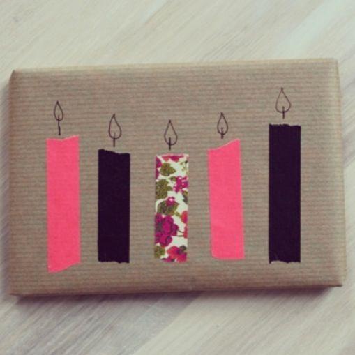 Leuk en simpele cadeauverpakking voor een verjaardag. Blaas deze kaarsjes maar eens uit!