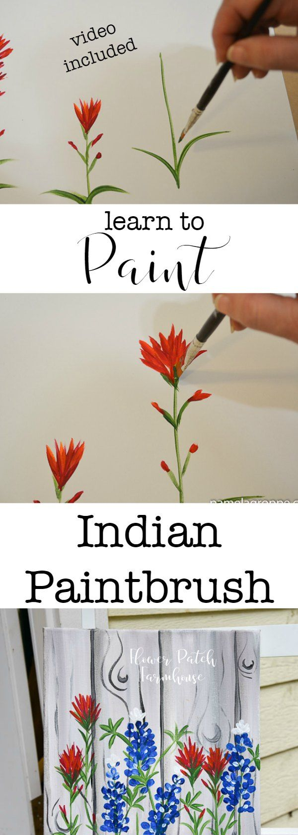 How to Paint Indian Paintbrush one stroke at a time. Easy beginner painting lesson in acrylics. Add this to the Texas Bluebonnet tutorial for a wildflower landscape painting.  via @FlowerpatchPam