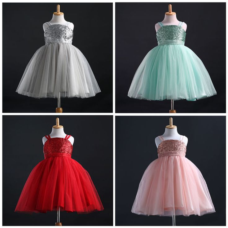 New Fancy Princess Baby Girls Sequins Party Dress Bridesmaid Gown Formal Dresses #Unbrand #Party