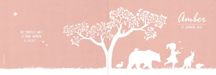 Geboortekaartje Amber - voorkant - Pimpelpluis - https://www.facebook.com/pages/Pimpelpluis/188675421305550?ref=hl (# meisje - boom - vogel - beer - kangoeroe - eend - kiwi - dieren - vlinder - silhouet - origineel - roze - wit)