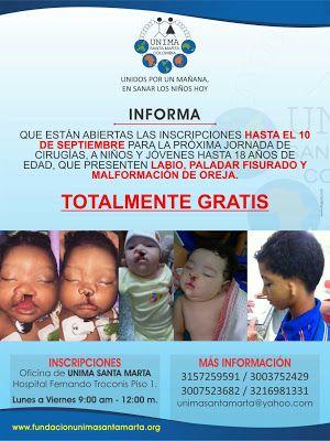 Cirugías gratuitas en Santa Marta para tratar labio leporino, paladar hendido y malformaciones de orejas