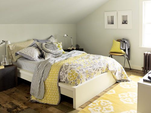 Love all the different prints on the bed  Yellow & Grey Scheme