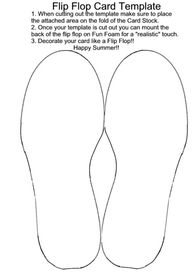 Flip flop card template. DIY paper crafting summer greeting, birthday, invitations or gift cards.