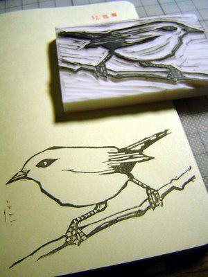 bird linocut stamping