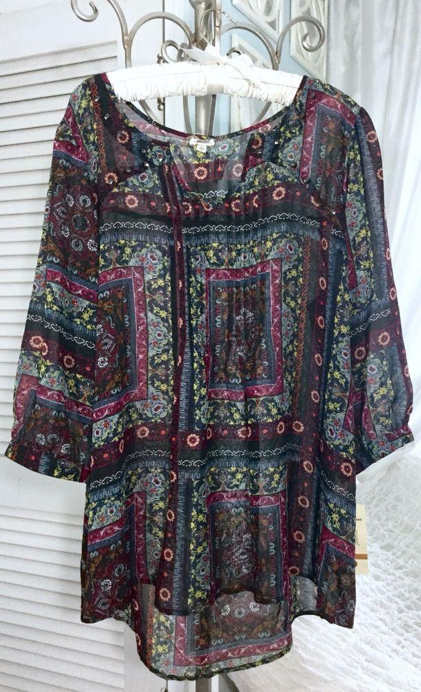fd9dfd7737d6e NEW ~Plus Size 3X Black Blue Red Floral Boho Paisley Top Shirt Blouse