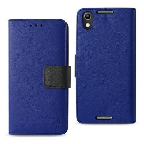 Reiko Alcatel Idol 4 5.2in 3-in-1 Wallet Case Navy With Interior Leather Polymer And Stand Function