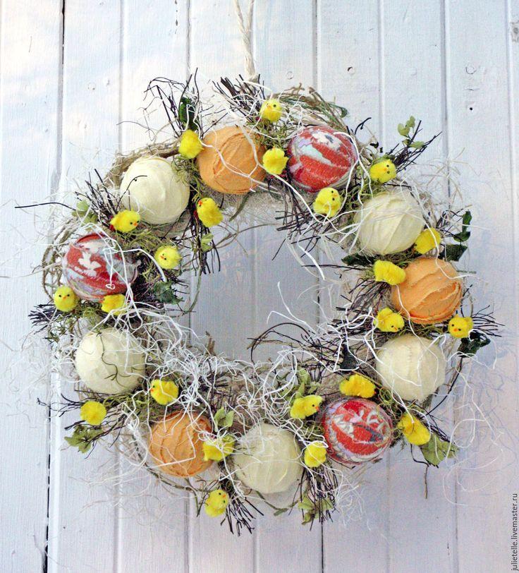 Купить Весенний венок Цыплята - желтый, Пасха, пасхальный сувенир, пасхальный декор, цыплята