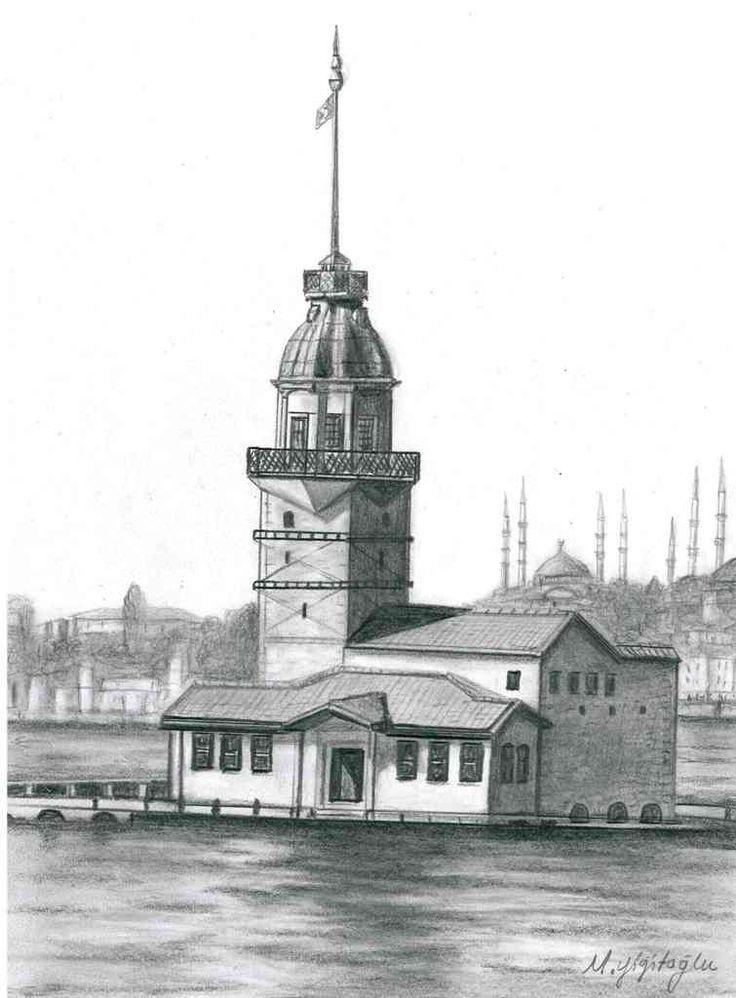 istanbul kız kulesi çizimleri karakalem - Google Search
