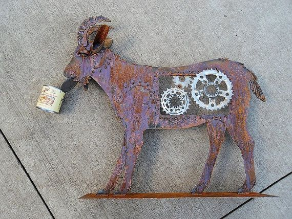 Steampunk Goat Welded Salvage Garden Art Sculpture