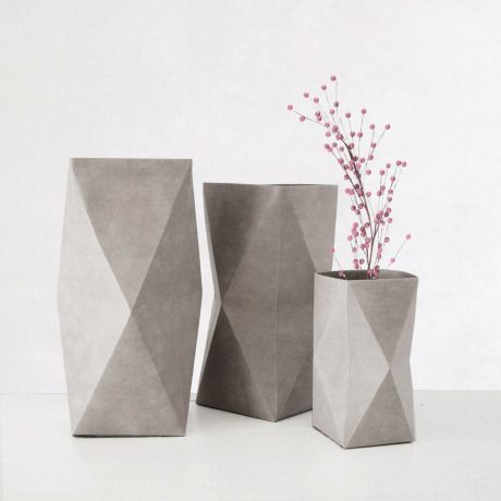 Designer Kami vases inspired by origami, made from recycled cellulose fiber