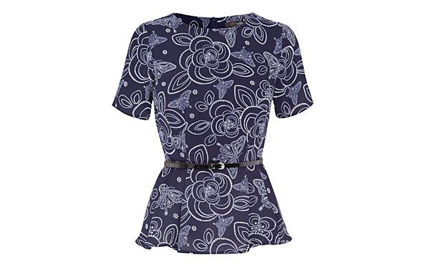 "Patterned Peplum Top. ""Create an hourglass silhouette in an instant with this top, thanks to its waist-cinching belt and peplum detail."""
