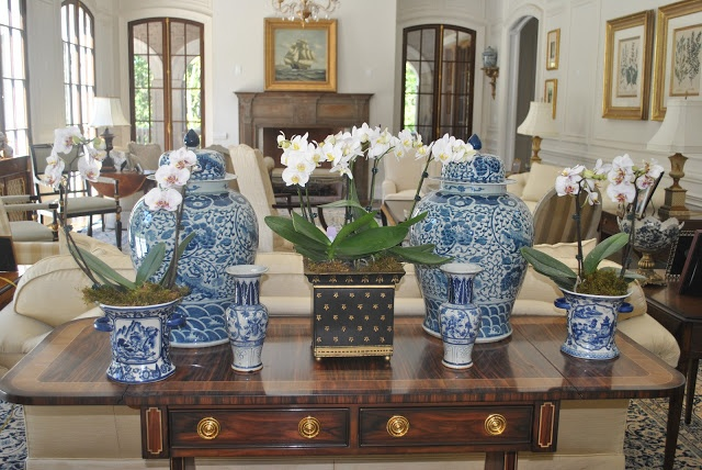 The Enchanted Home: blue and white - idea for console table behind sofa