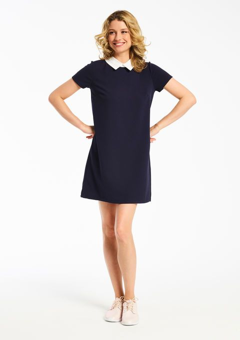 Effen jurk met claudine kraag - NAVY BLUE - 08004925_1651