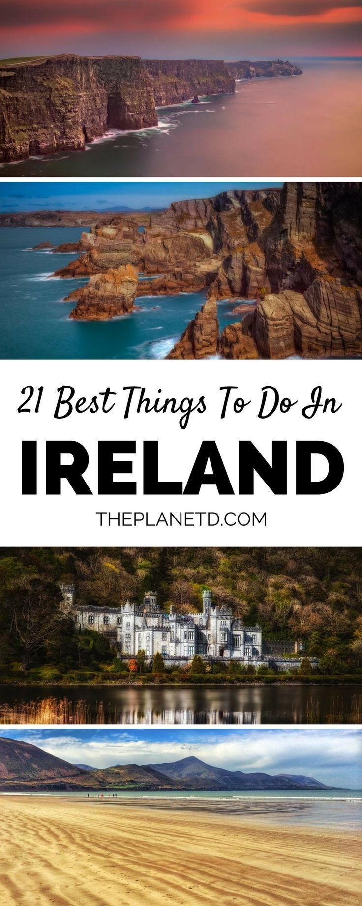 A complete guide with 21 of the best things to do in Ireland. Take a day trip to Galway and venture off to the cliffs of Moher or visit a castle along the coast. Escape the Dublin and Cork city centers with day trips around the country. Experience the rolling hills and seemingly endless green countryside of Ireland. Travel in Ireland. | Blog by the Planet D #Ireland #irelandtravel