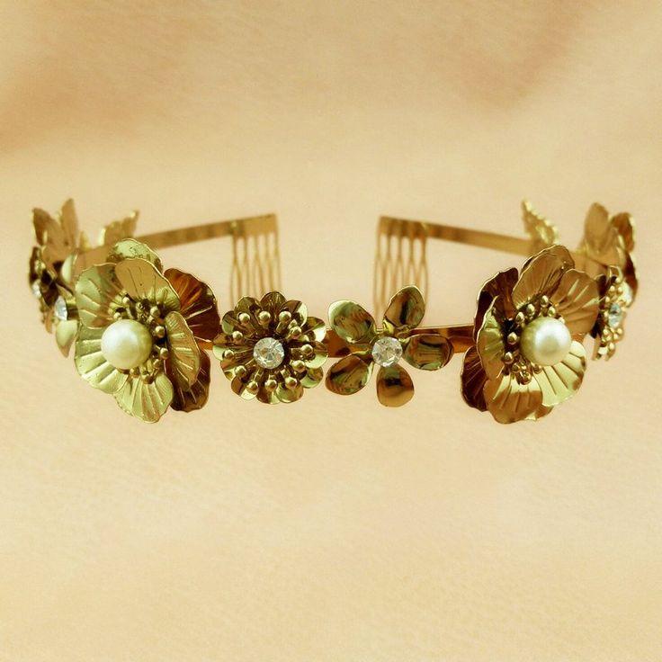 Flower Gold Women Headband Prom Jewelry Wholesale