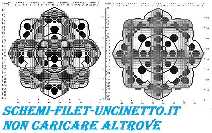 Centro rotondo petali schema filet uncinetto gratis