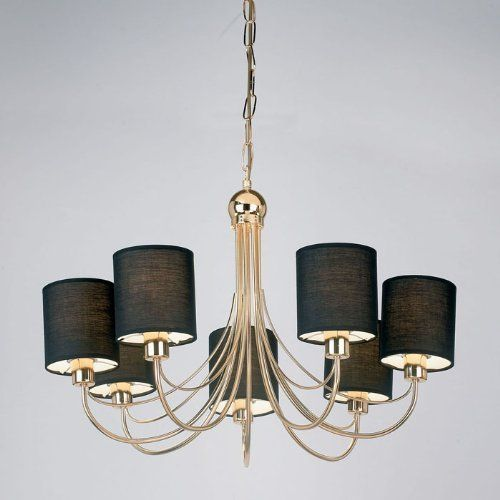 Endon Lighting Figaro 7 Light Ceiling Ing In Gold Finish With Black Fabric Shades From Castlegate Lights Uk