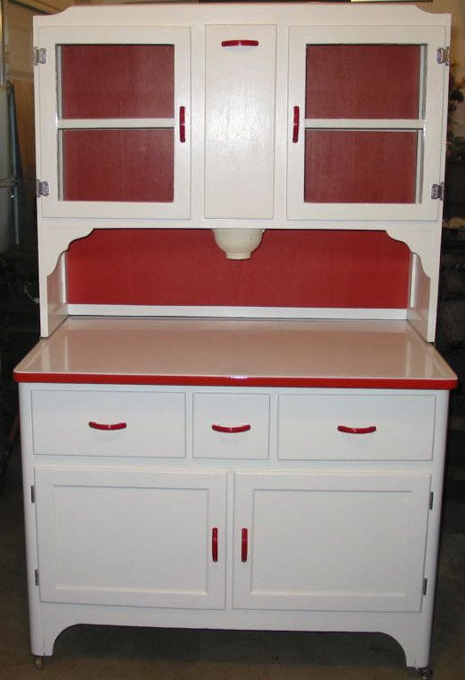 red & white hoosier ~ would love to have in my kitchen!