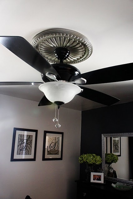 Ceiling molding and spray paint to dress up a once ugly ceiling fan master bedroom - Master bedroom ceiling fans ...