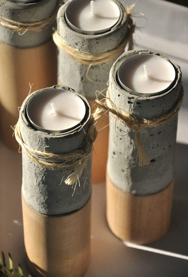 Świeczniki - cement podparty drewnem - OLDTREE - Świeczniki